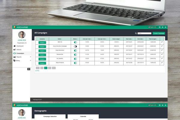 AdCharge уеб администрация разработена от Speedflow Bulgaria